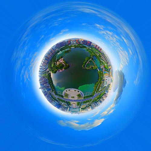全景航拍五洲湖 全景云 全景vr图片 虚拟现实 vr 360°