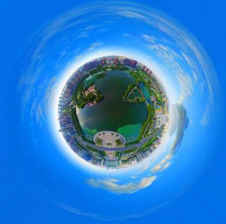 全景航拍五洲湖