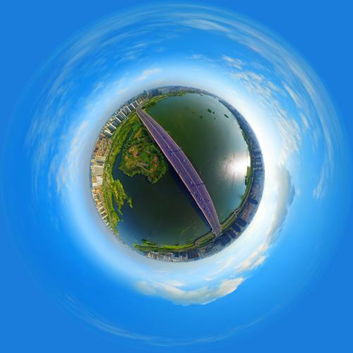 全景航拍祊河大桥 全景云 全景vr图片 虚拟现实 vr 360°
