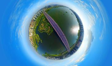 全景航拍祊河大桥
